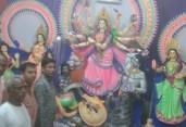 প্রচন্ড ঝড় বৃষ্টি উপেক্ষা করেই বাঞ্ছারামপুরে পালিত হচ্ছে শারদীয় দুর্গোৎসব